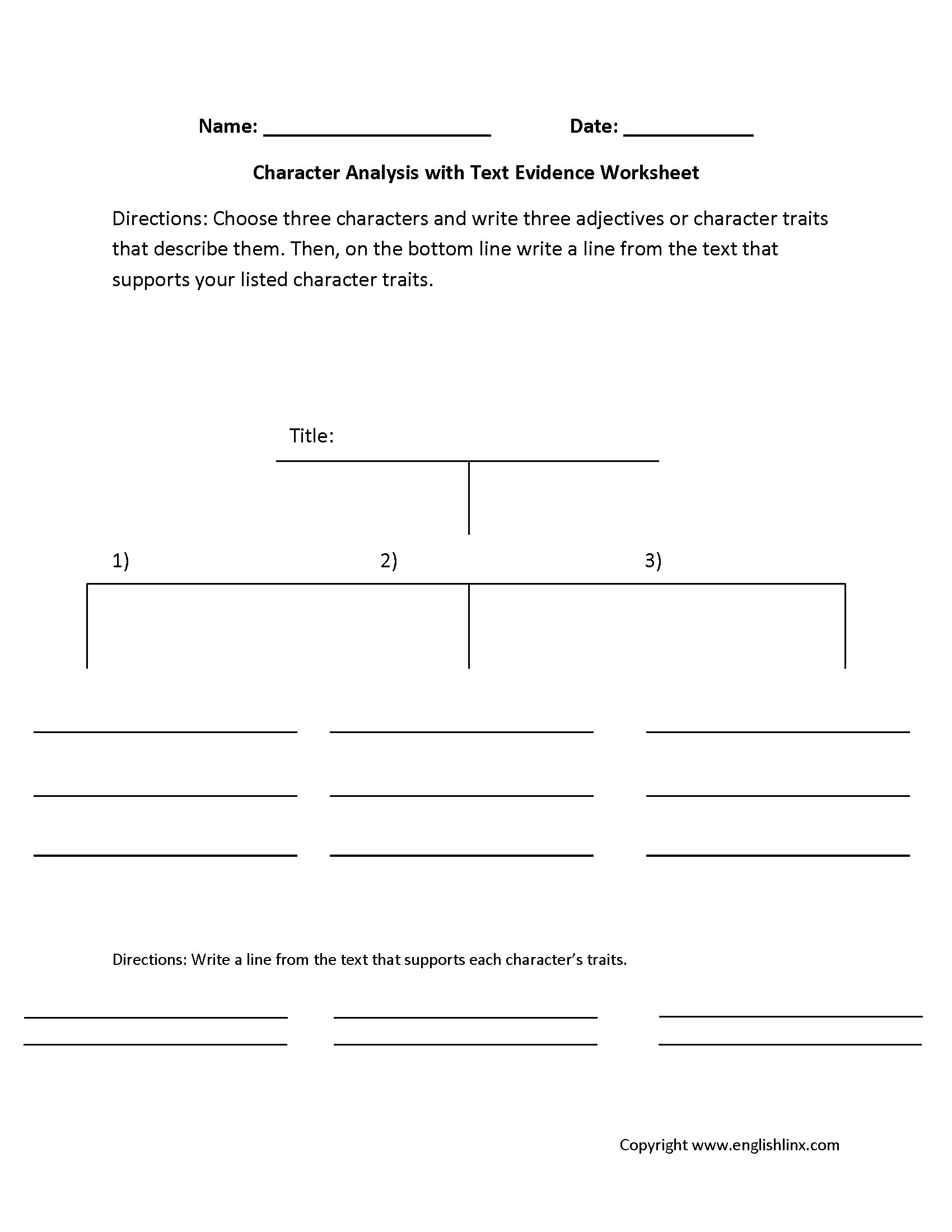 Worksheet Identifying Character Traits Worksheet