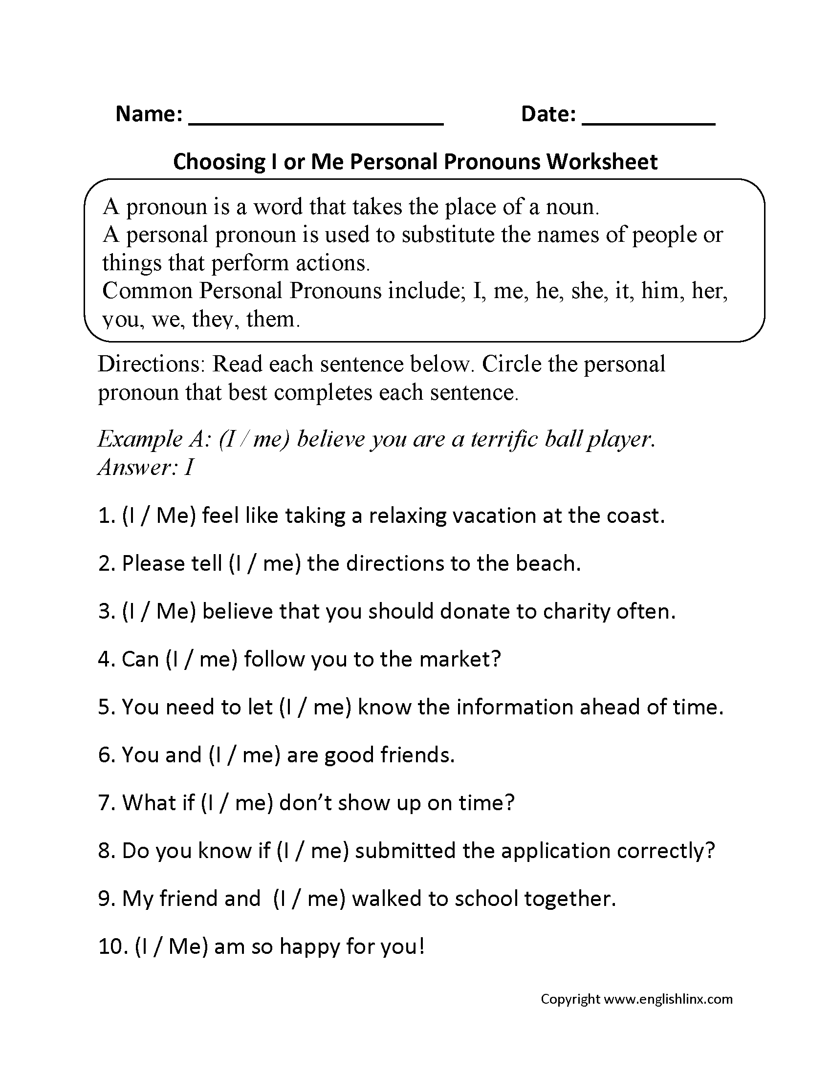 Pronouns Worksheets