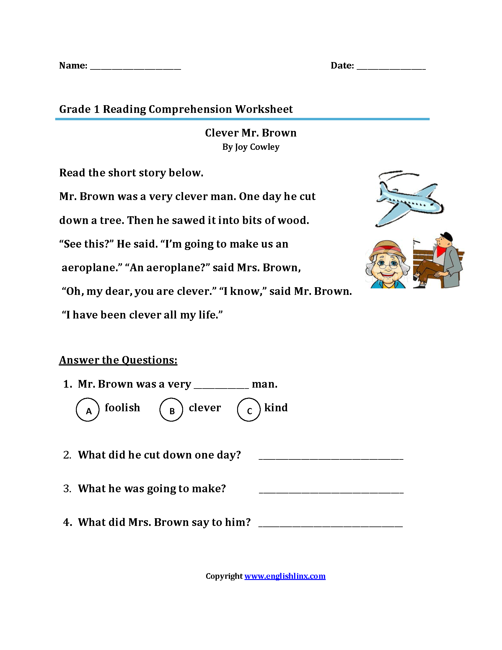 Printables Of Reading Comprehension First Grade
