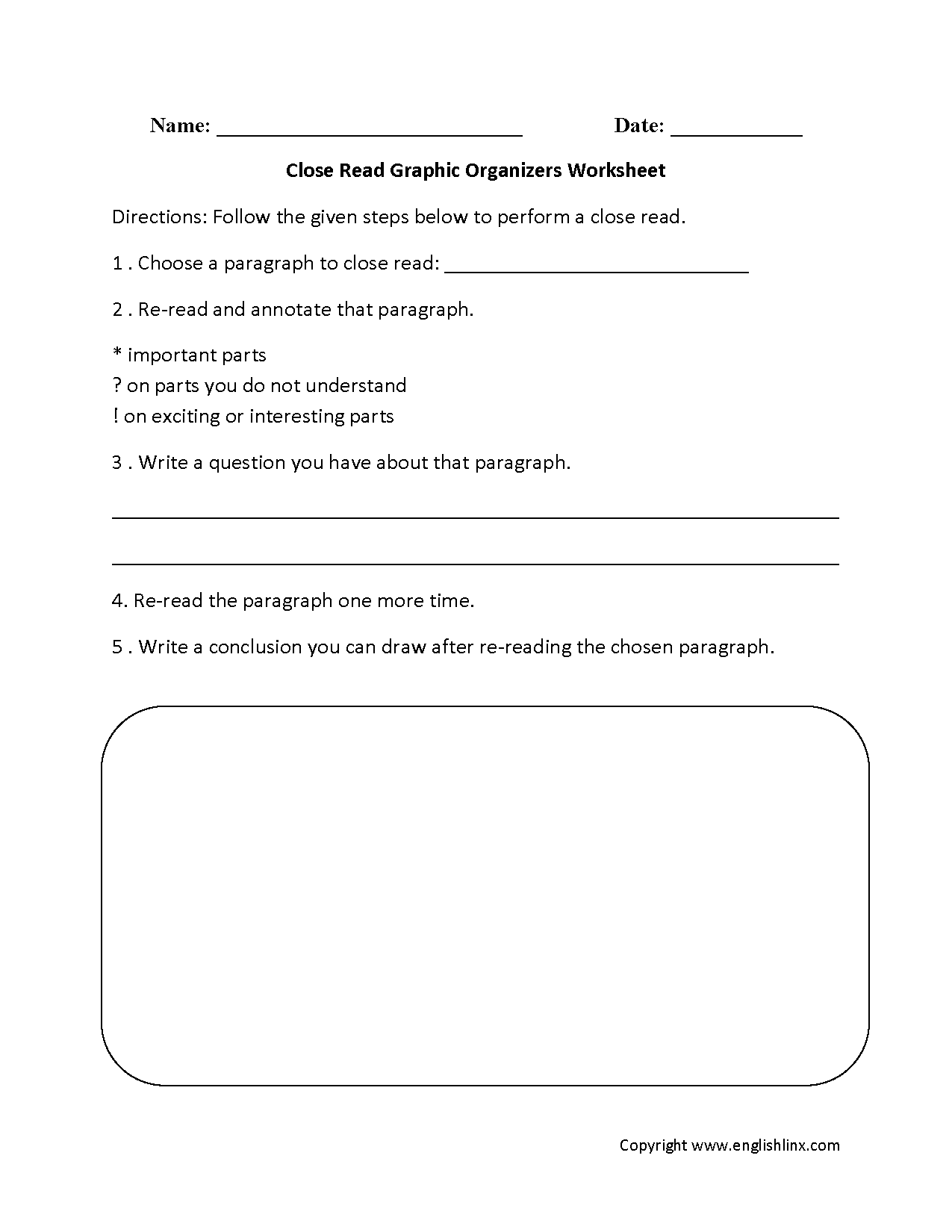 T Chart Worksheet