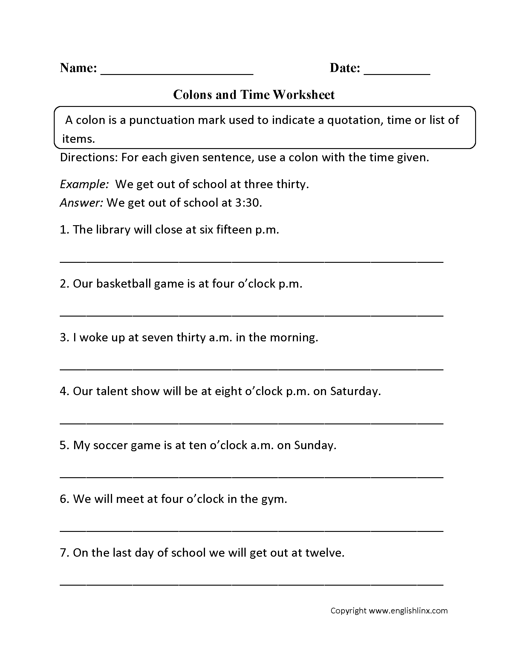 Punctuation Worksheet For Adults