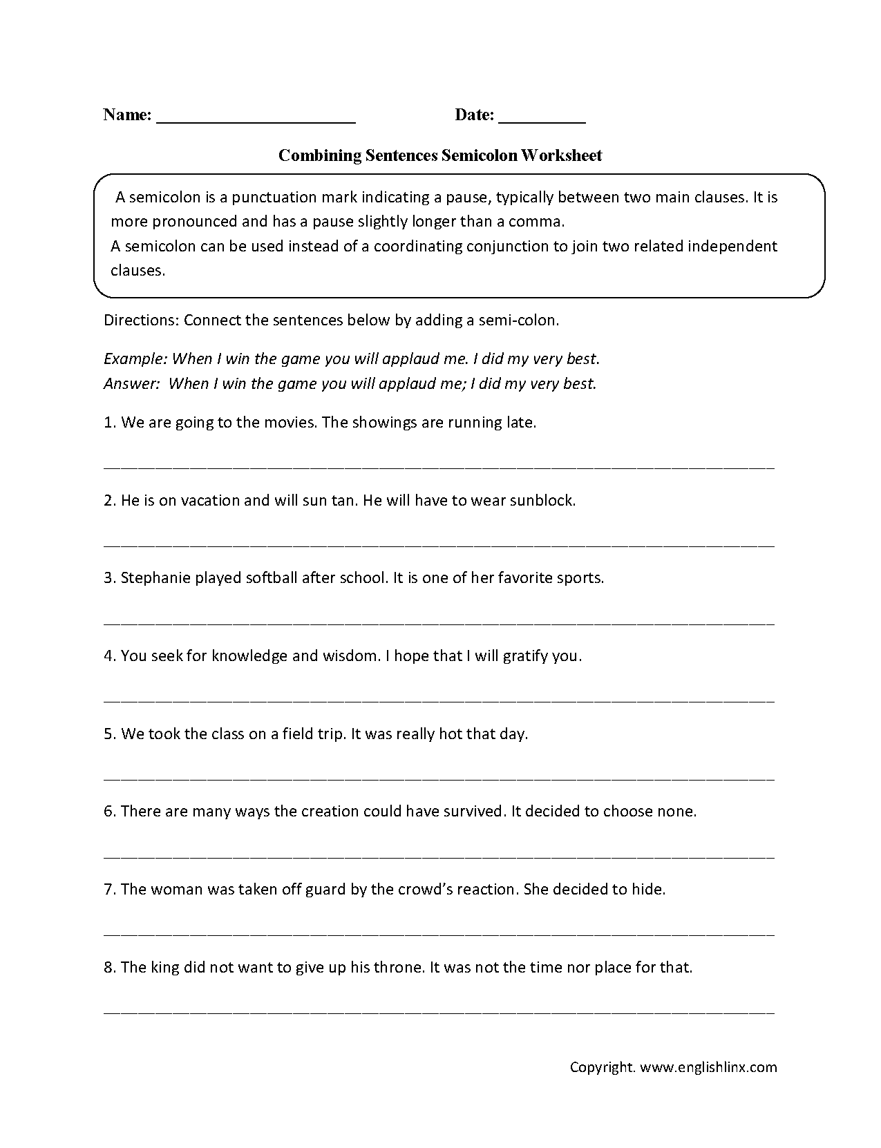Combining Sentences With Conjunctions Worksheet
