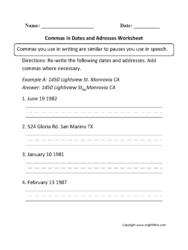 Commas Worksheets  Commas in Dates and Addresses Worksheet