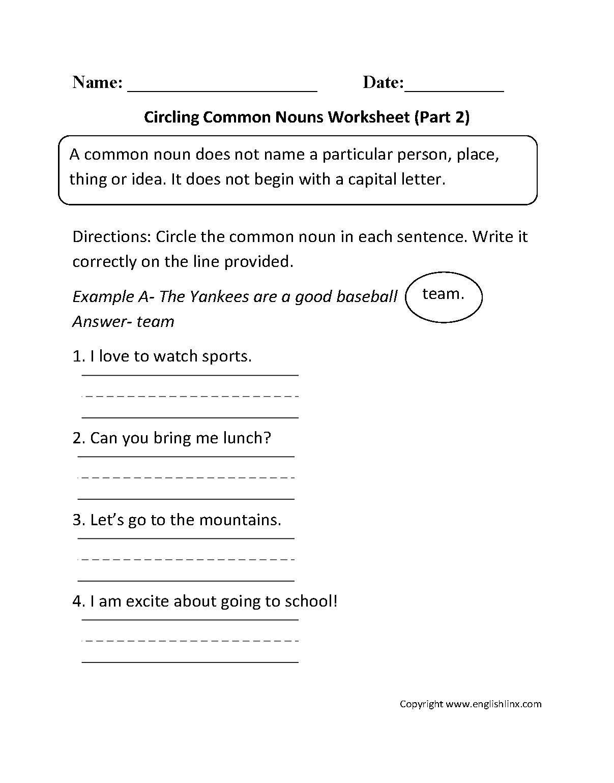 Worksheet Underline Naming Words