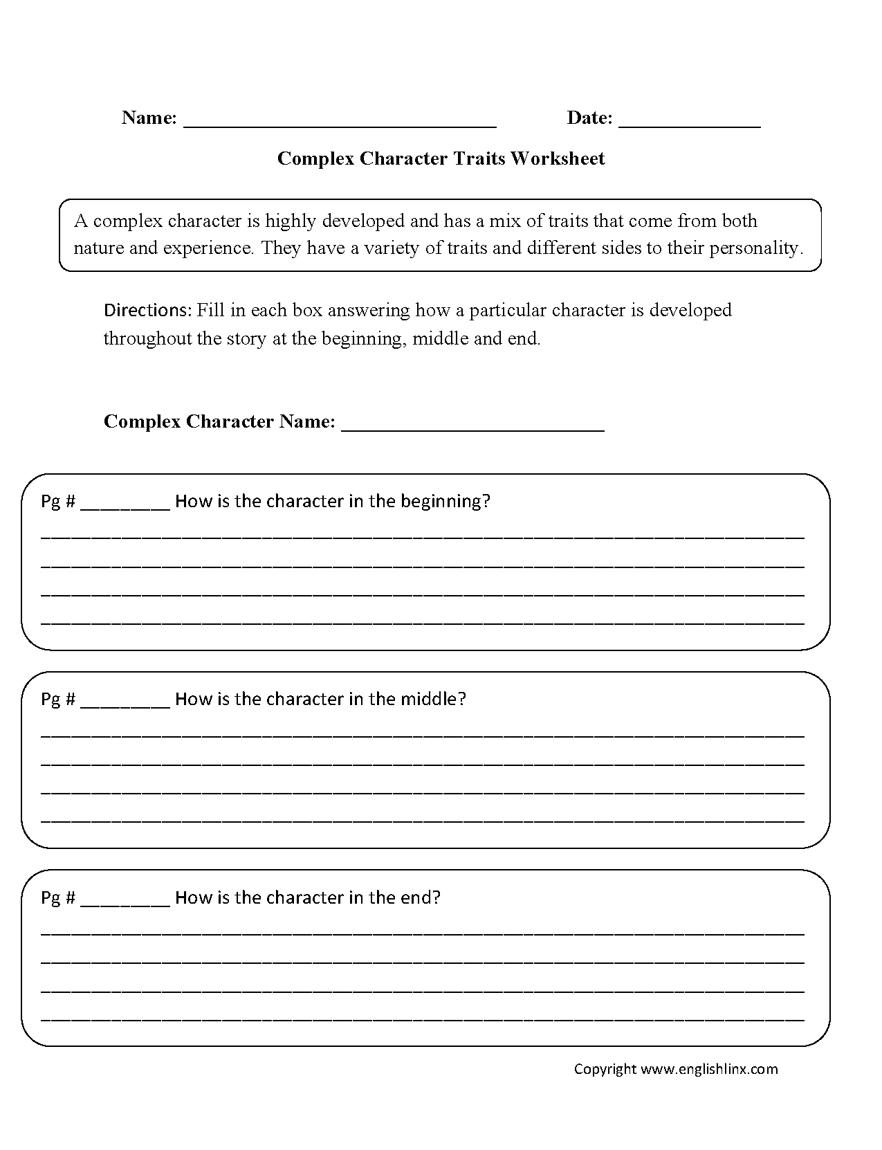 Character Trait Worksheets 3rd Grade