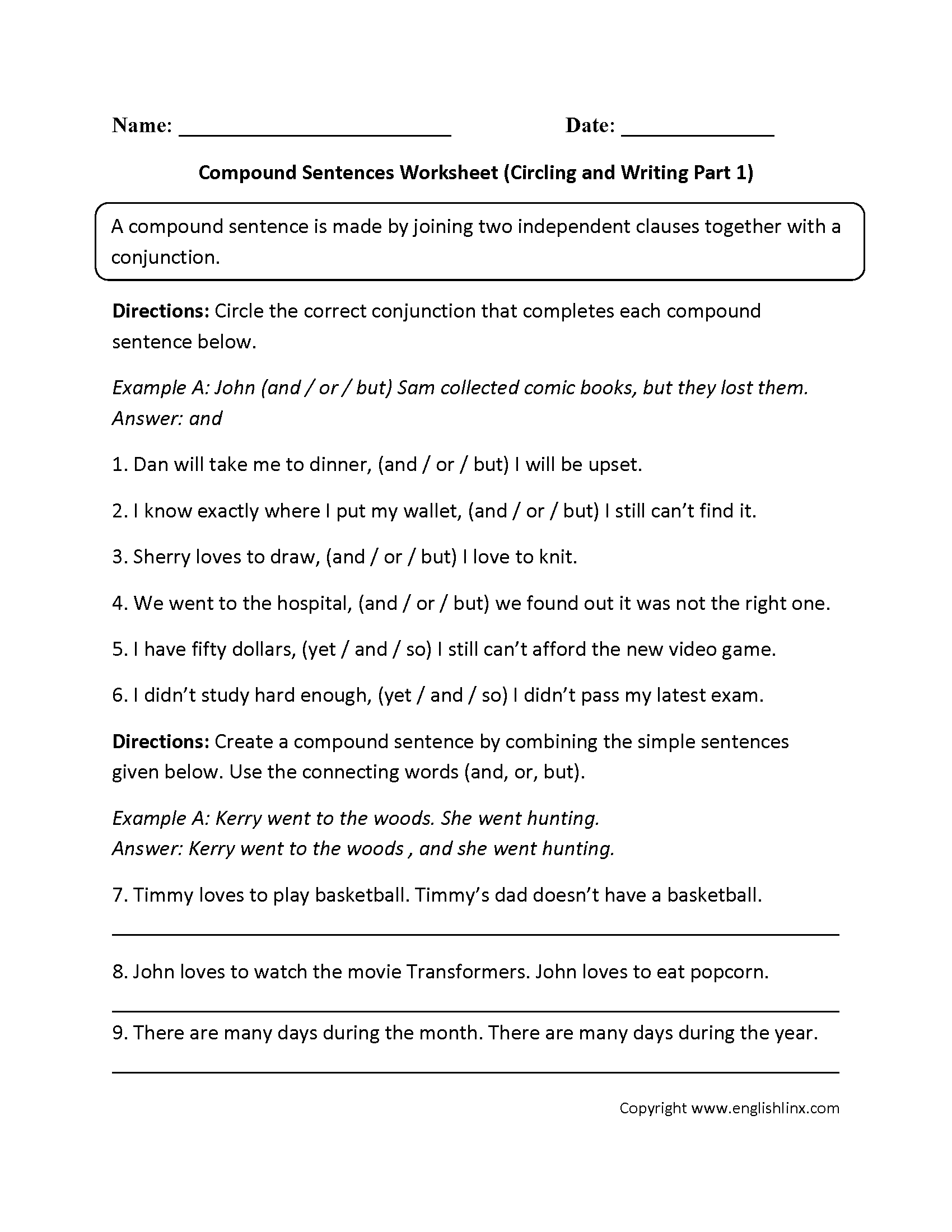 Compound Sentences Worksheets