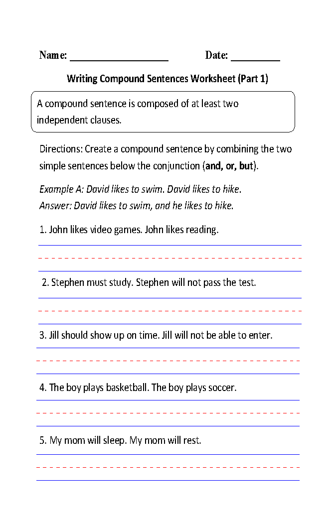Combining Sentences Worksheets
