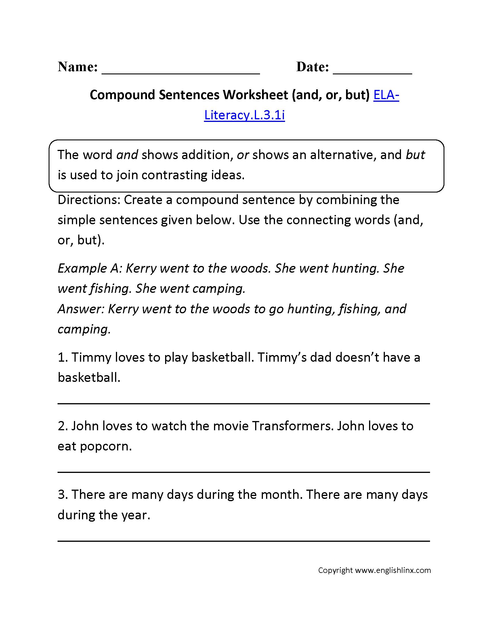 Compound Sentences Games 3rd Grade