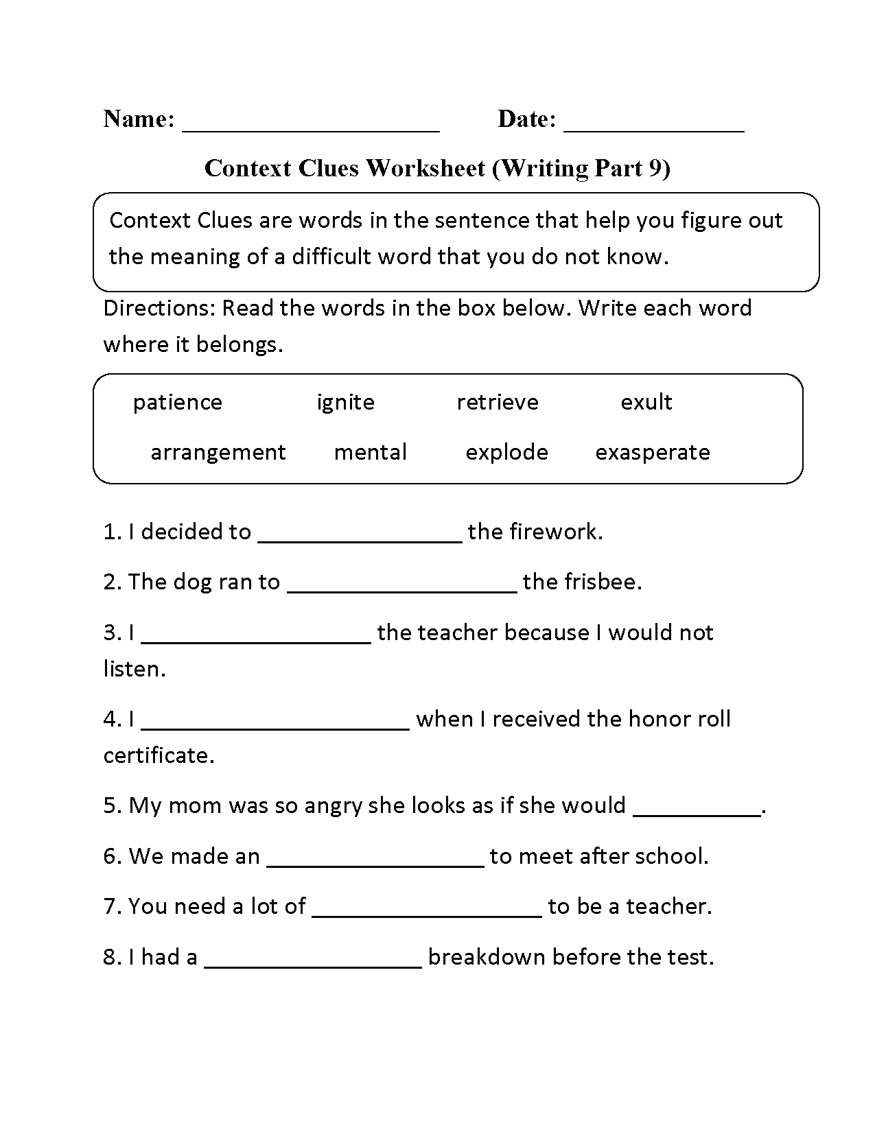 Grade 10 Language Arts Worksheet