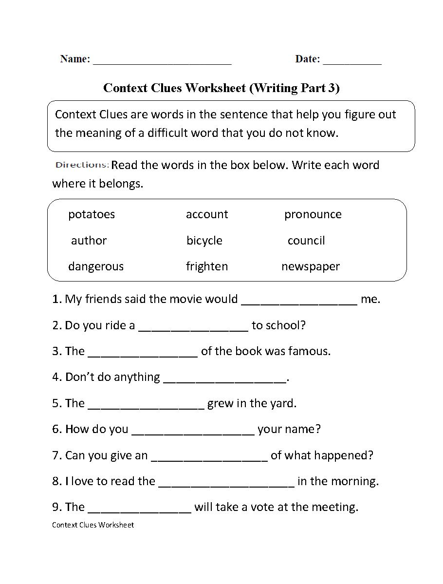 C Text Clues W Ksheets 1st Gr De Free W Ksheets Libr Ry