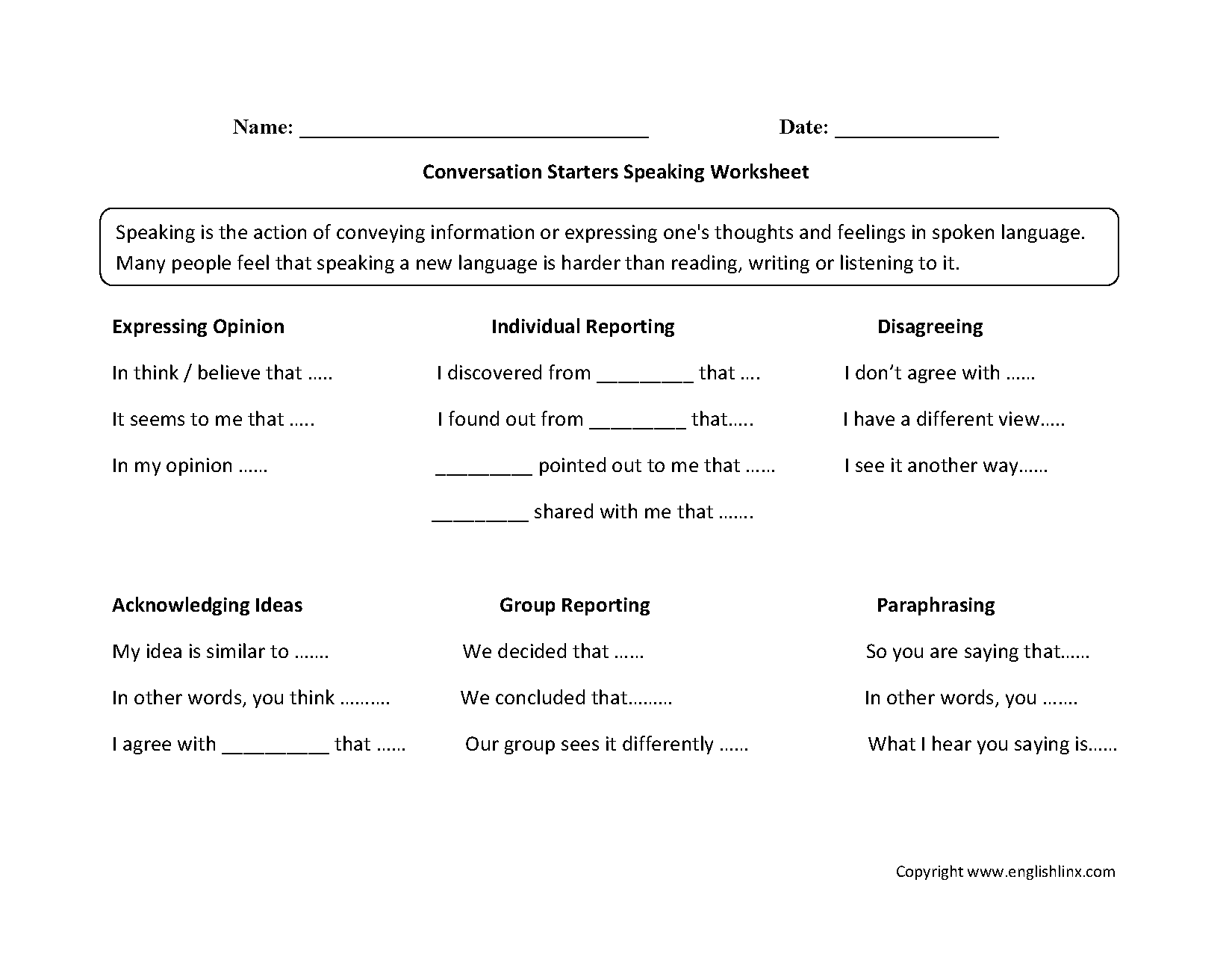 Speaking Worksheets