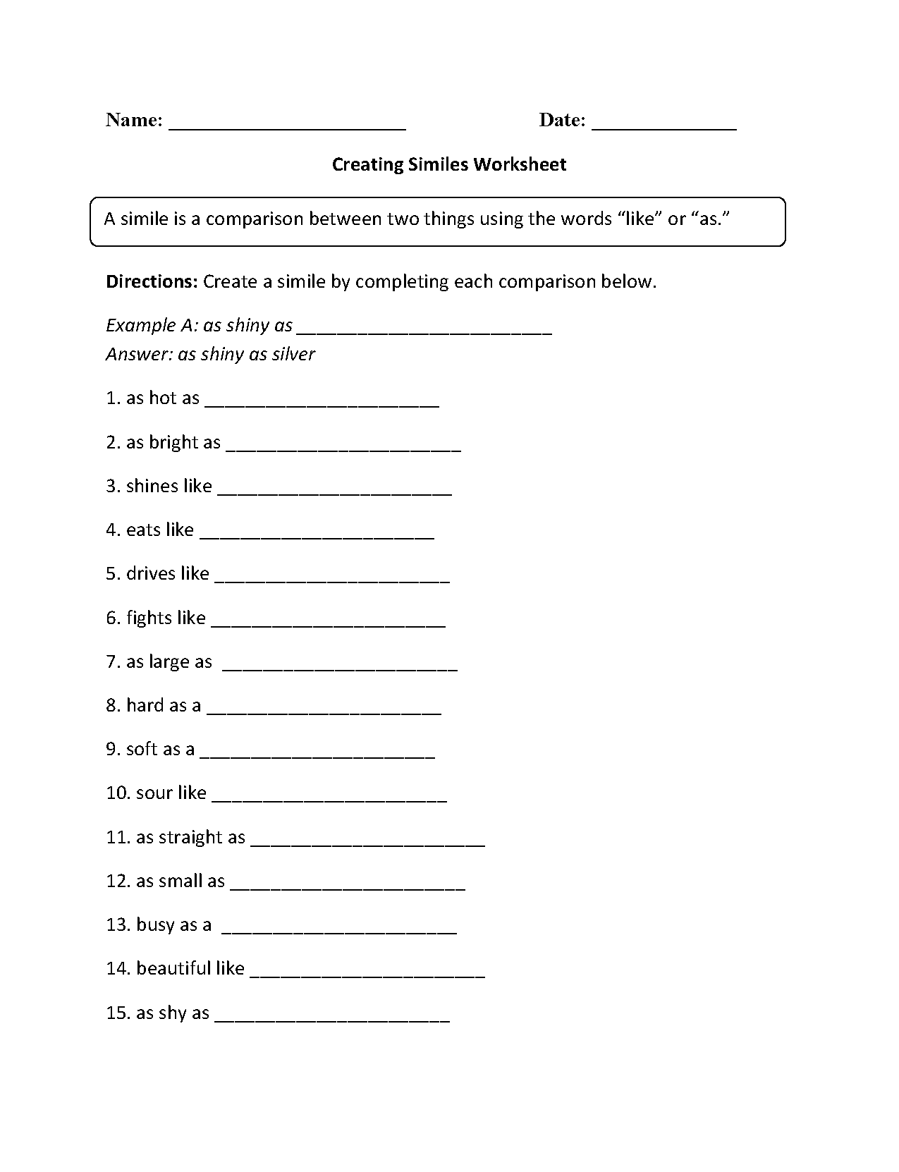 Simile Worksheet For 6th Grade
