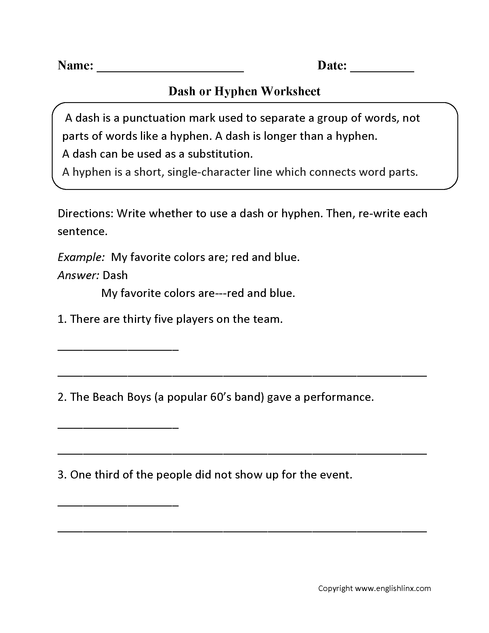 Grammar Worksheet On Hyphens And Dashes