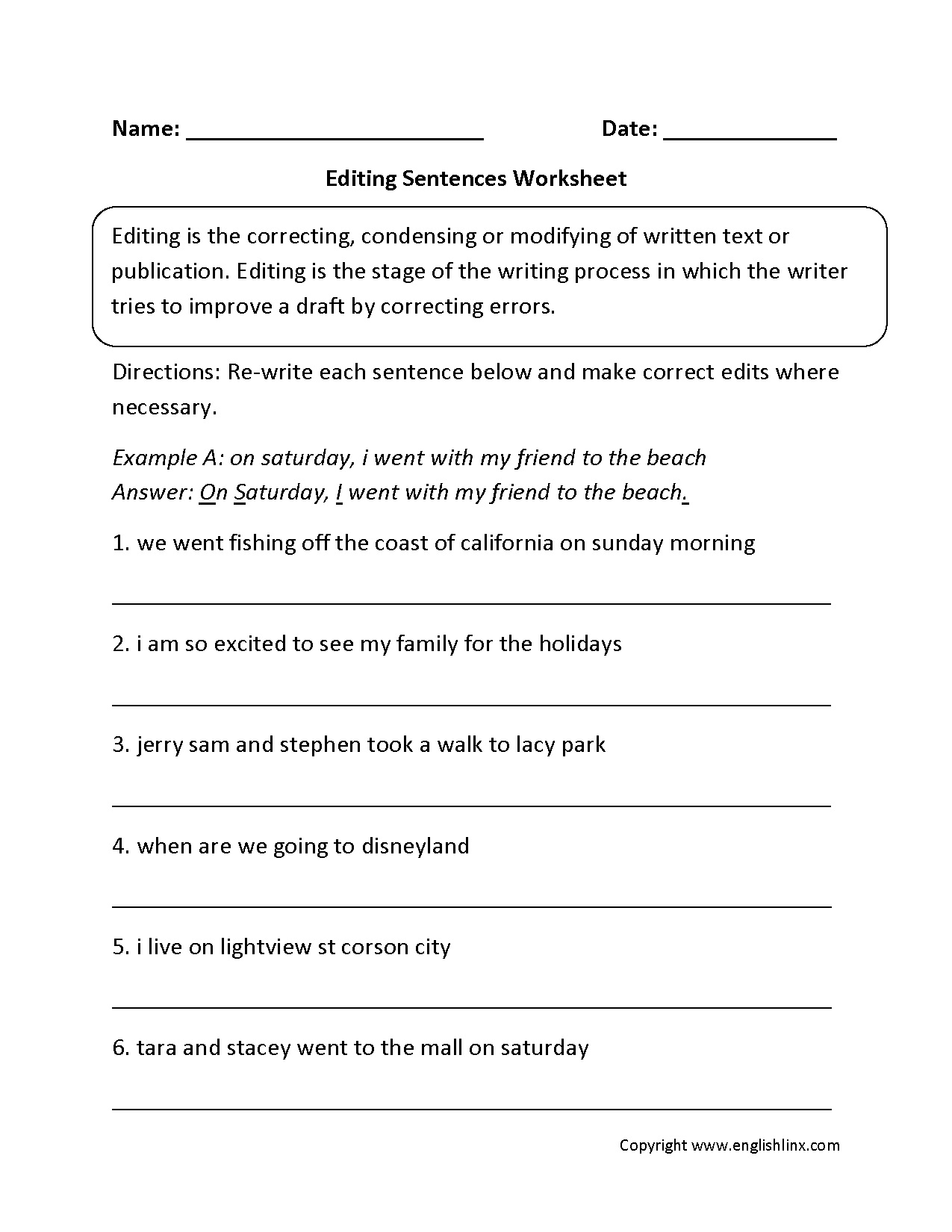 Grammar Editing Worksheets Grade 6