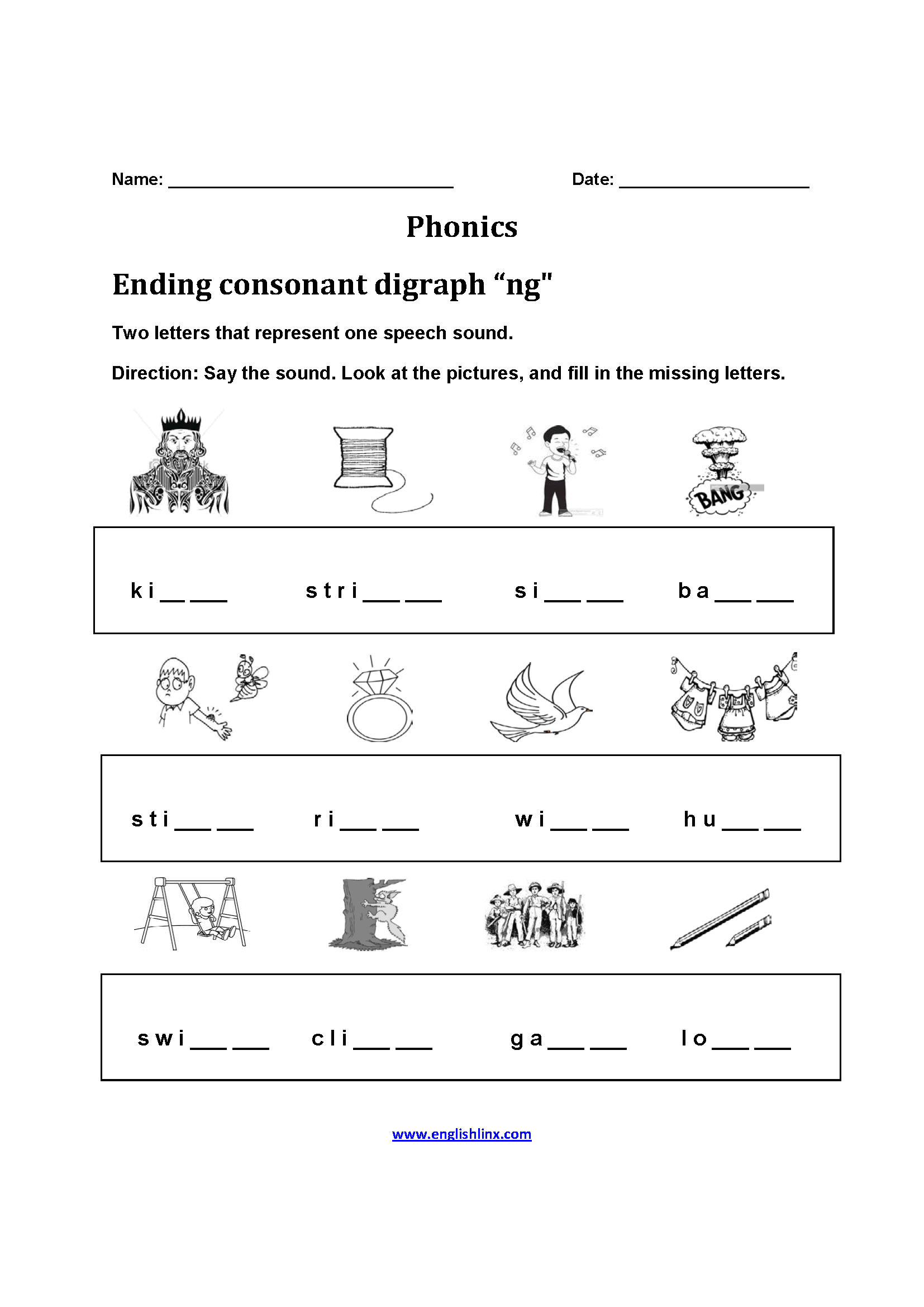 Phonics Ending Sound Worksheet Letter M