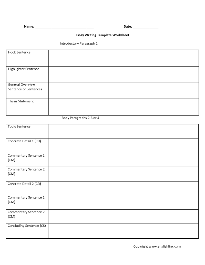 Essay Writing Template Pdf | Poemsrom.co