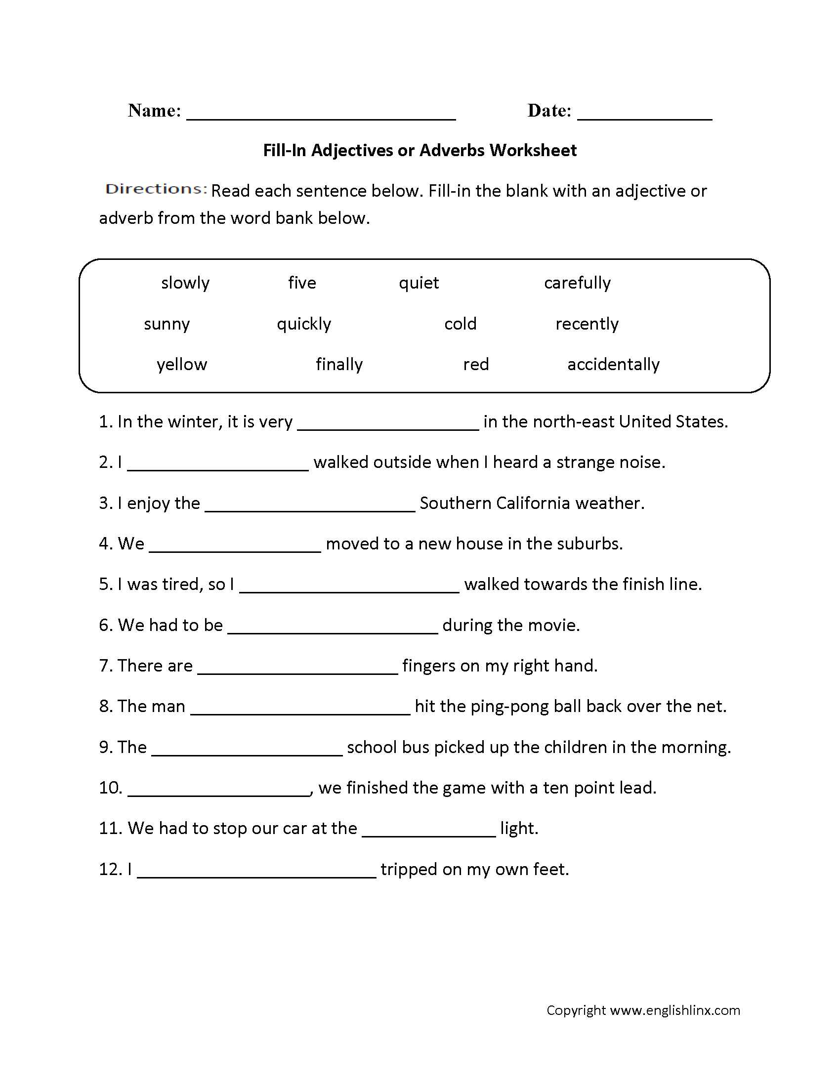 Adjectives Or Adverbs Worksheets