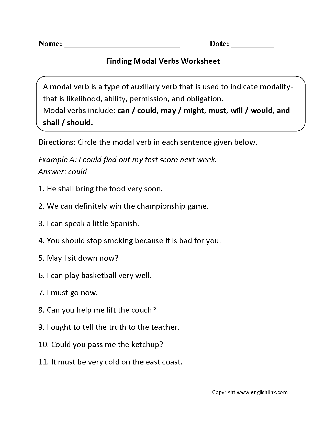 Modal Auxiliary Verbs 4th Grade Worksheet