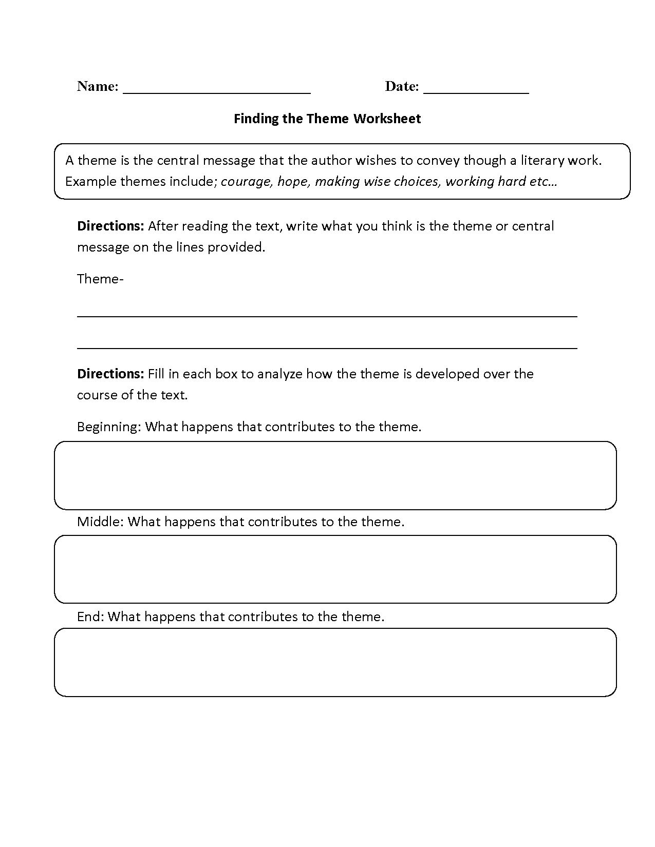 Printables Of Theme Worksheet For 2nd Grade