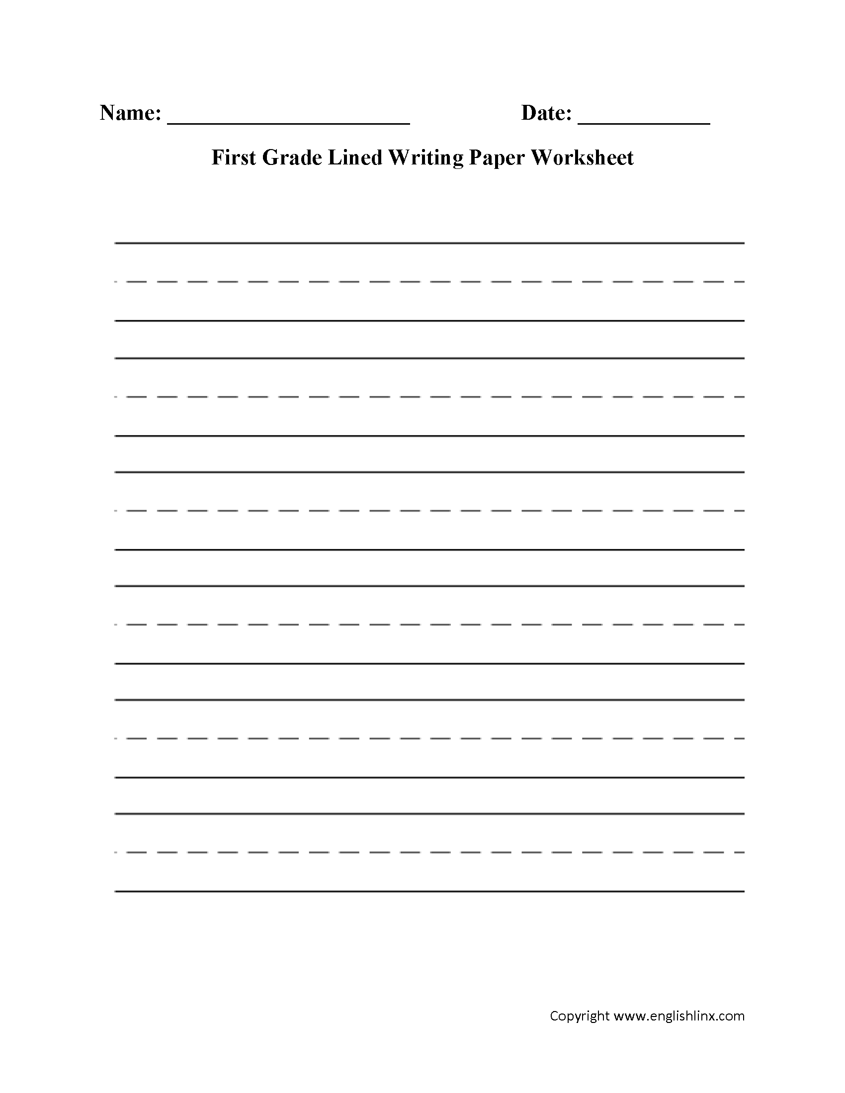 Printable First Grade Writing Paper That Are Bewitching
