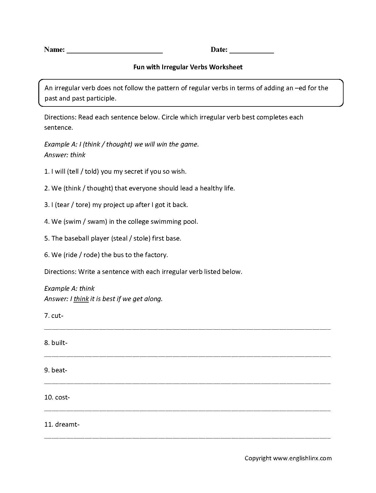 Irregular Verbs Past Participle Worksheet