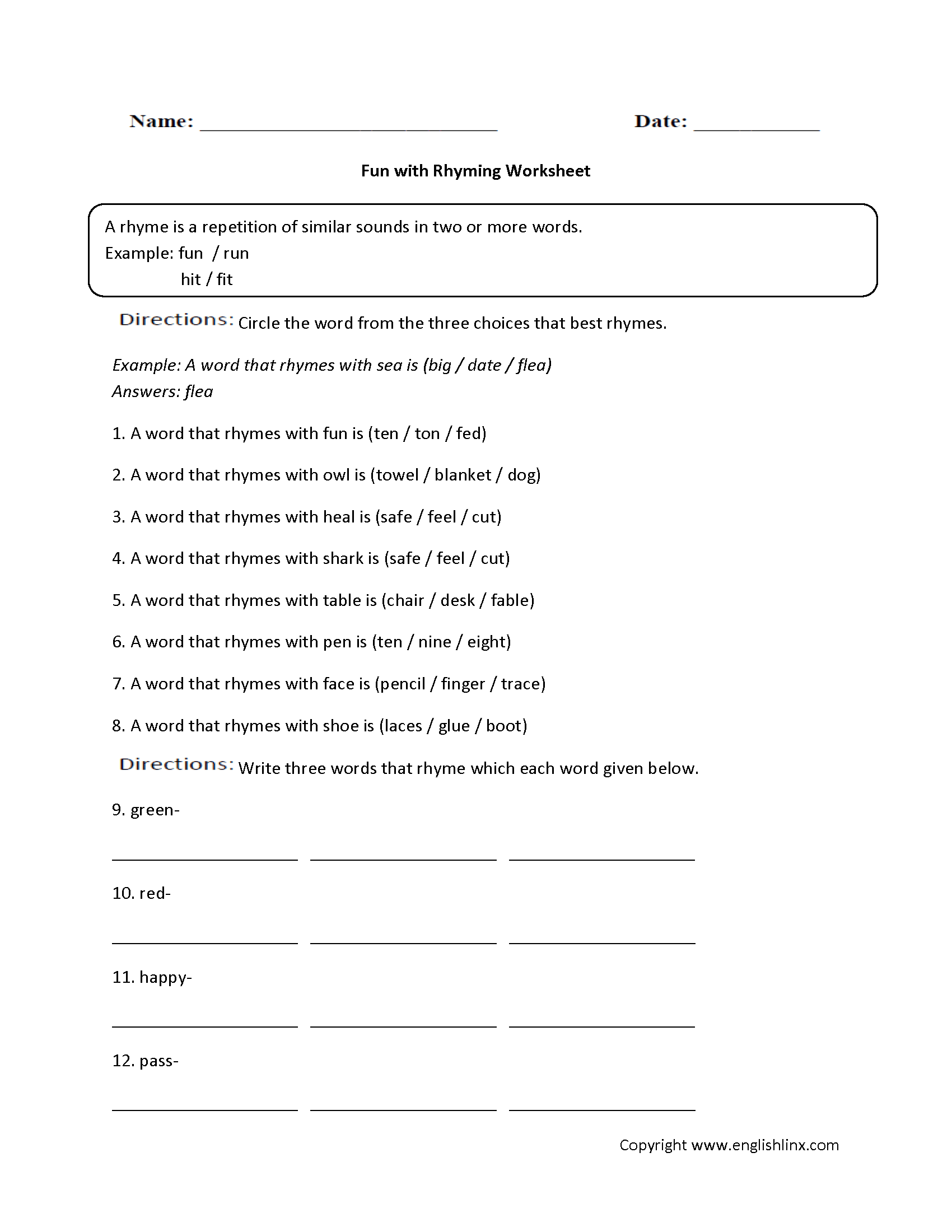 Fable Worksheet