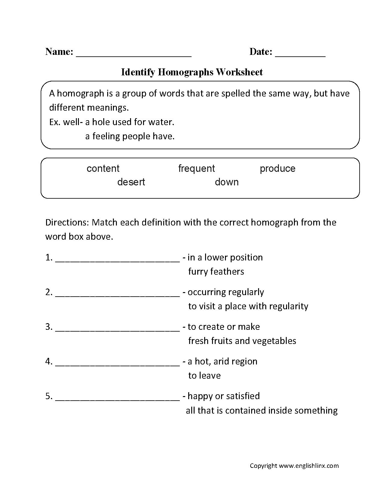 Printables Of Homograph Worksheet Year 6