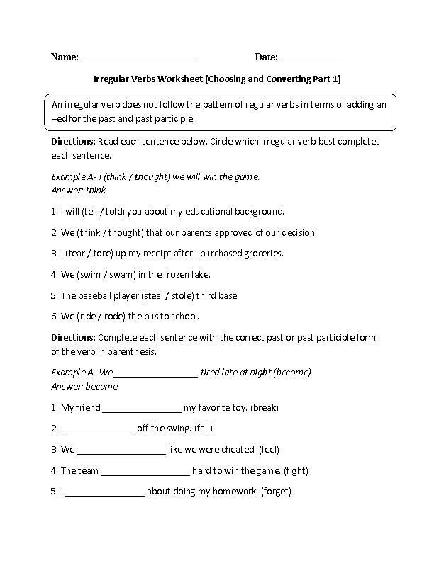 Verbs Worksheets Irregular Verbs Worksheets
