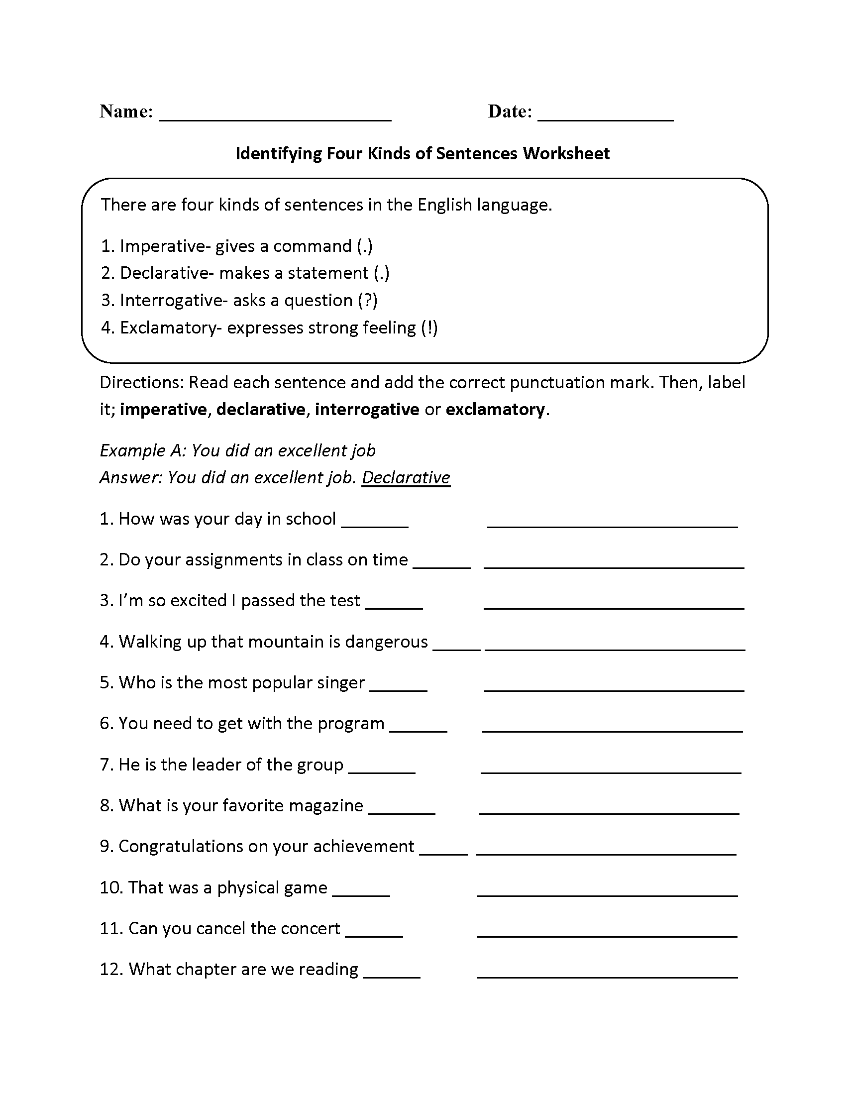 Kinds Of Sentences Worksheets