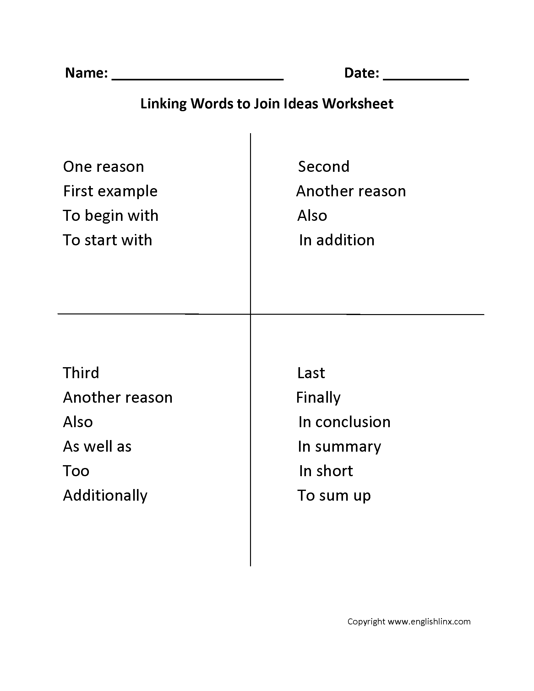 Linking Words Of Addition Linking Words And Phrases