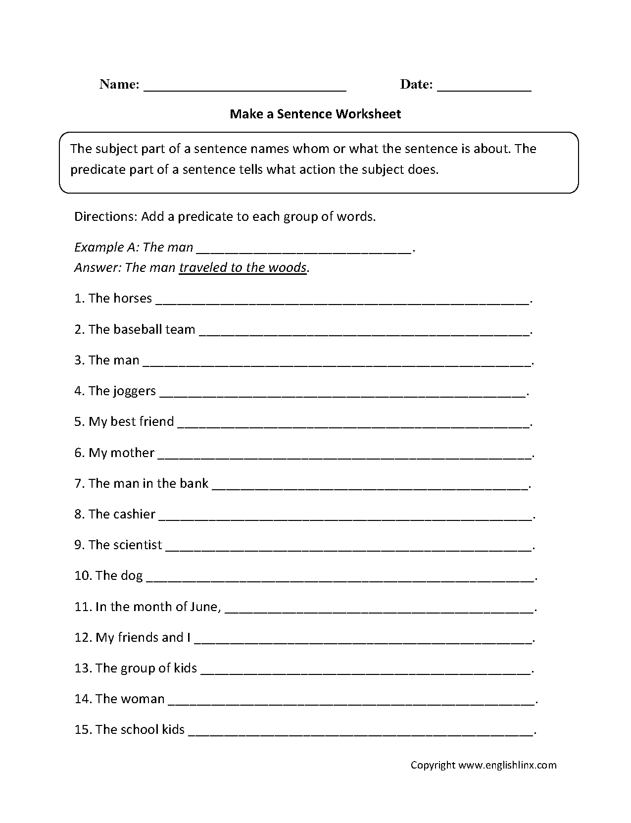 Sentence Structure Worksheets