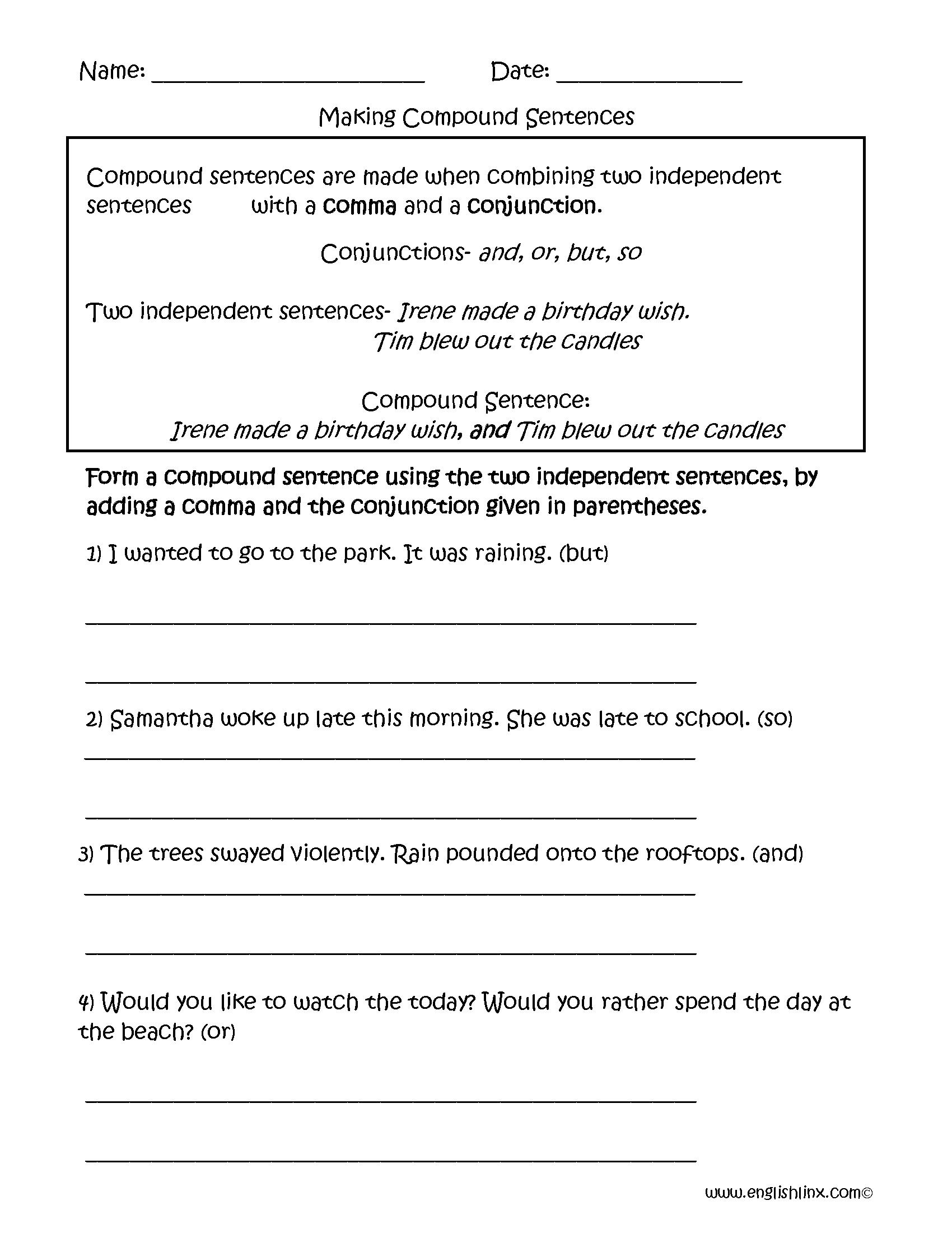 Kindergarten Combining Compound Sentences Worksheet Part