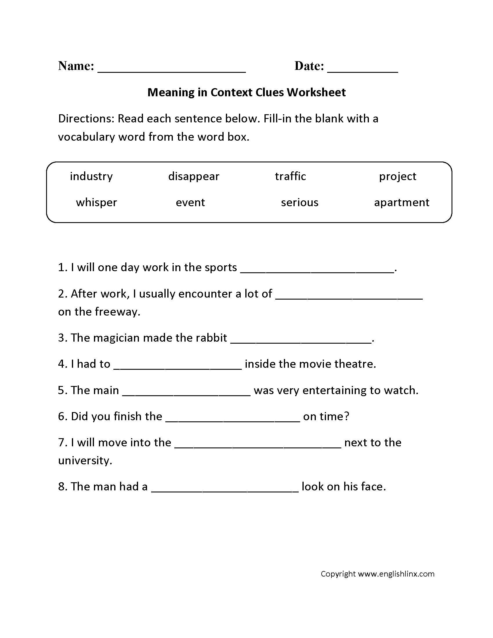 Context Clues Multiple Choice Worksheets 5th Grade