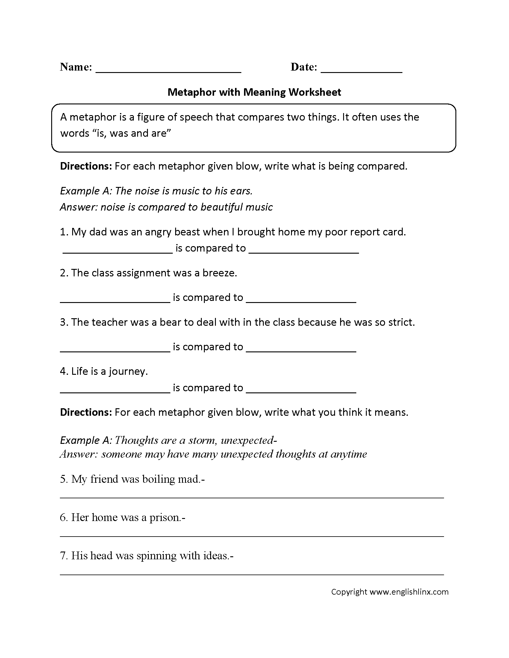 Simile Metaphor Worksheet 5th Grade