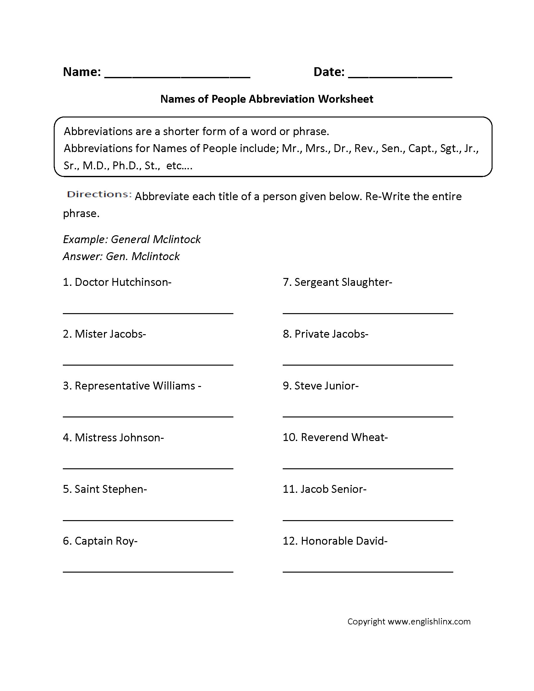 Abbreviation Worksheet For 5th Grade