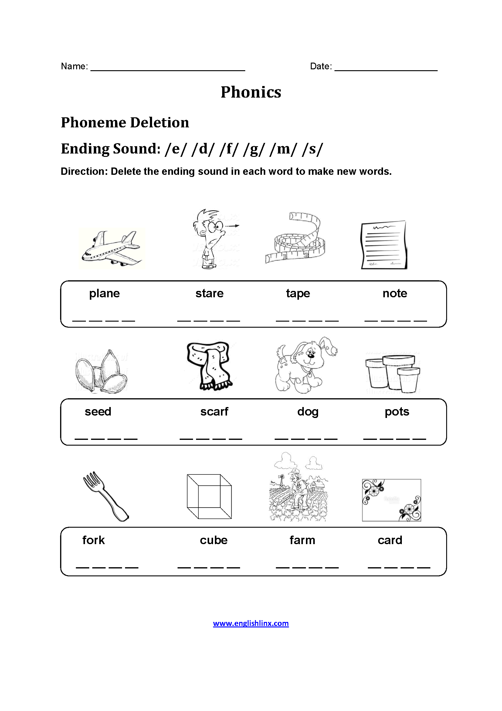 Phoneme Substitution Worksheets