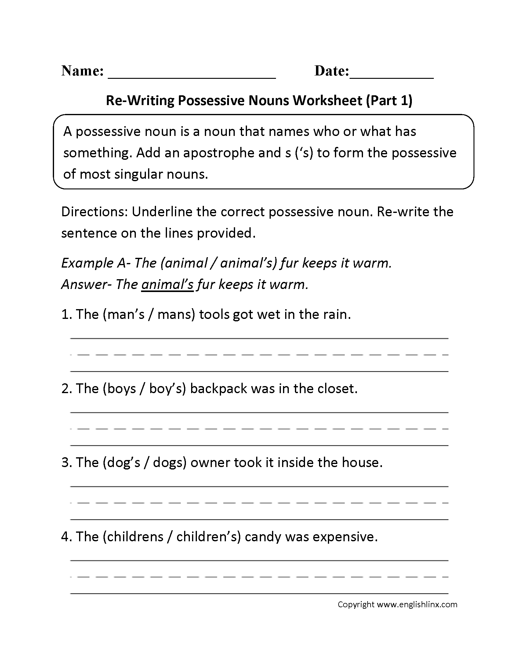 Possessive Nouns Worksheets