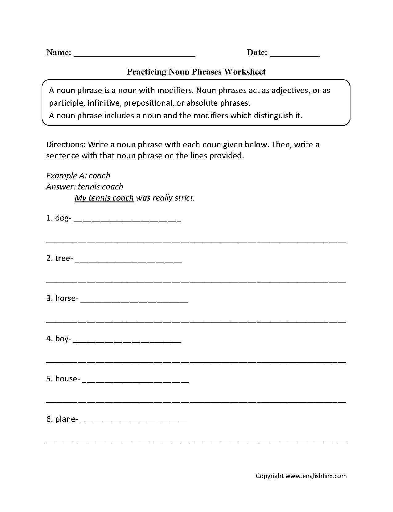Nouns Worksheets