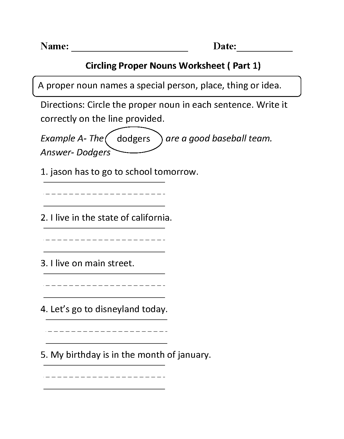 Nouns Worksheets 4th Grade