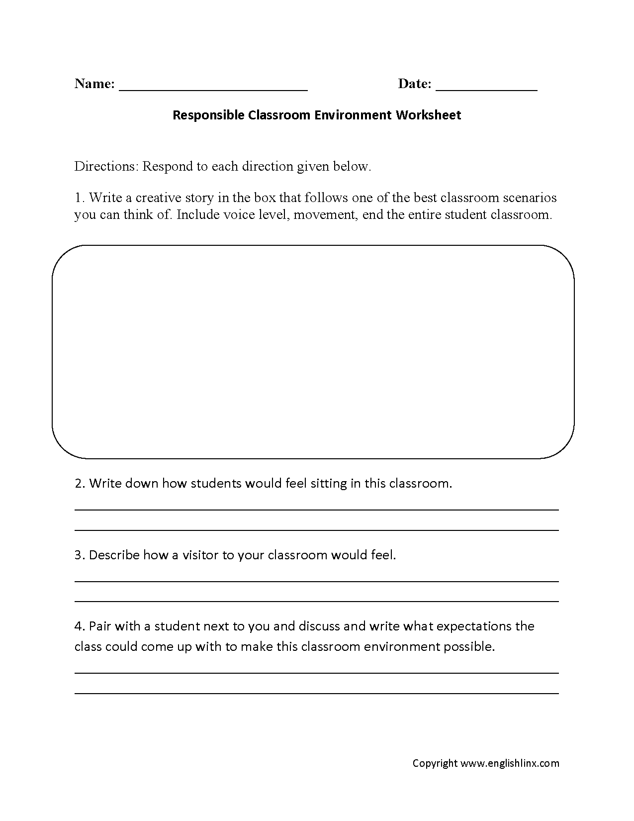 Responsible Thinking Worksheet