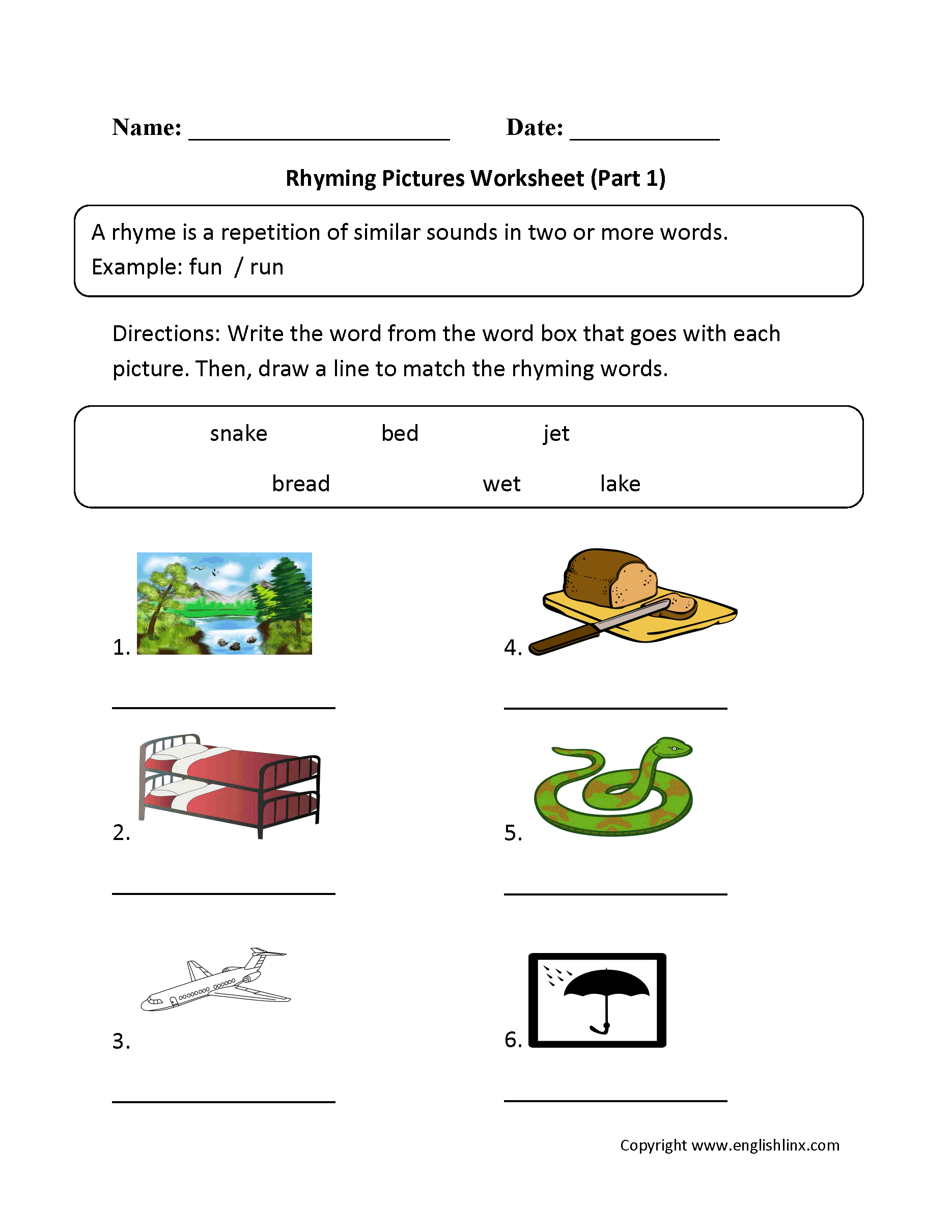 Rhyming Words Worksheet 2nd Grade