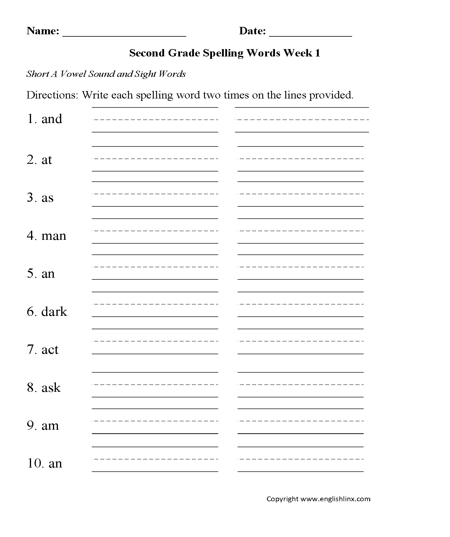Printables Of Second Grade Spelling
