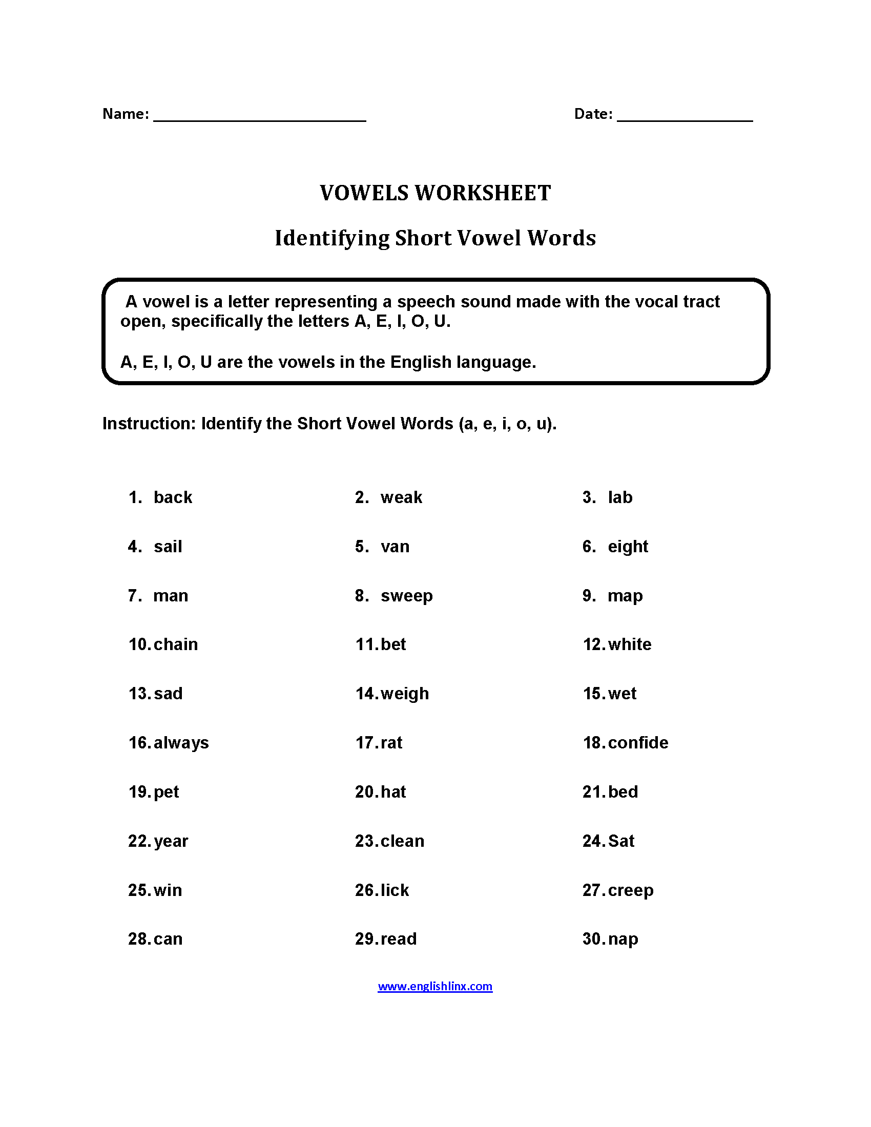 Vowels Worksheets