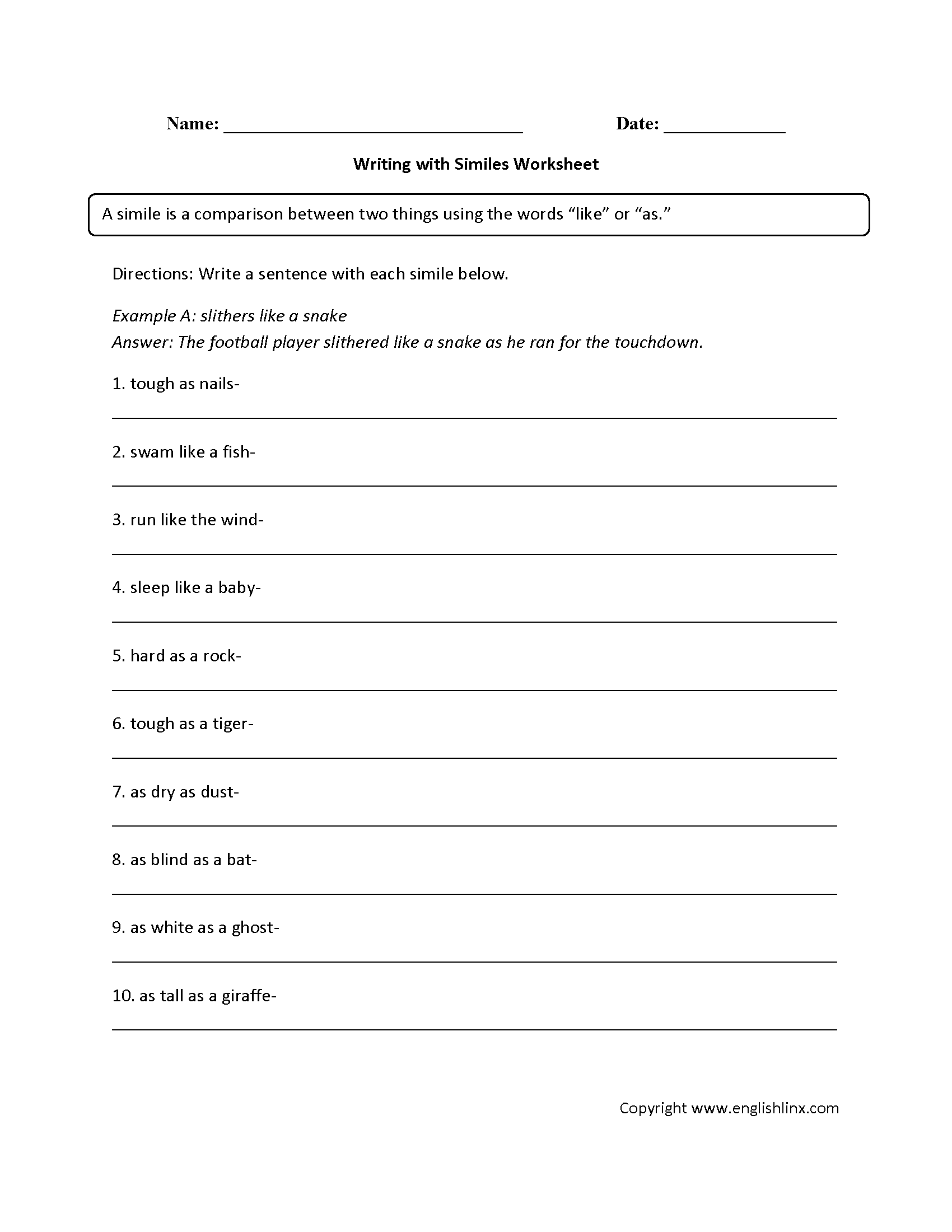 Easy Simile Worksheet