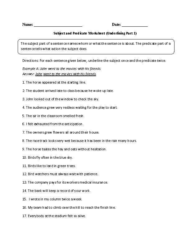 subject and predicate games – Simple Subject and Simple Predicate Worksheet