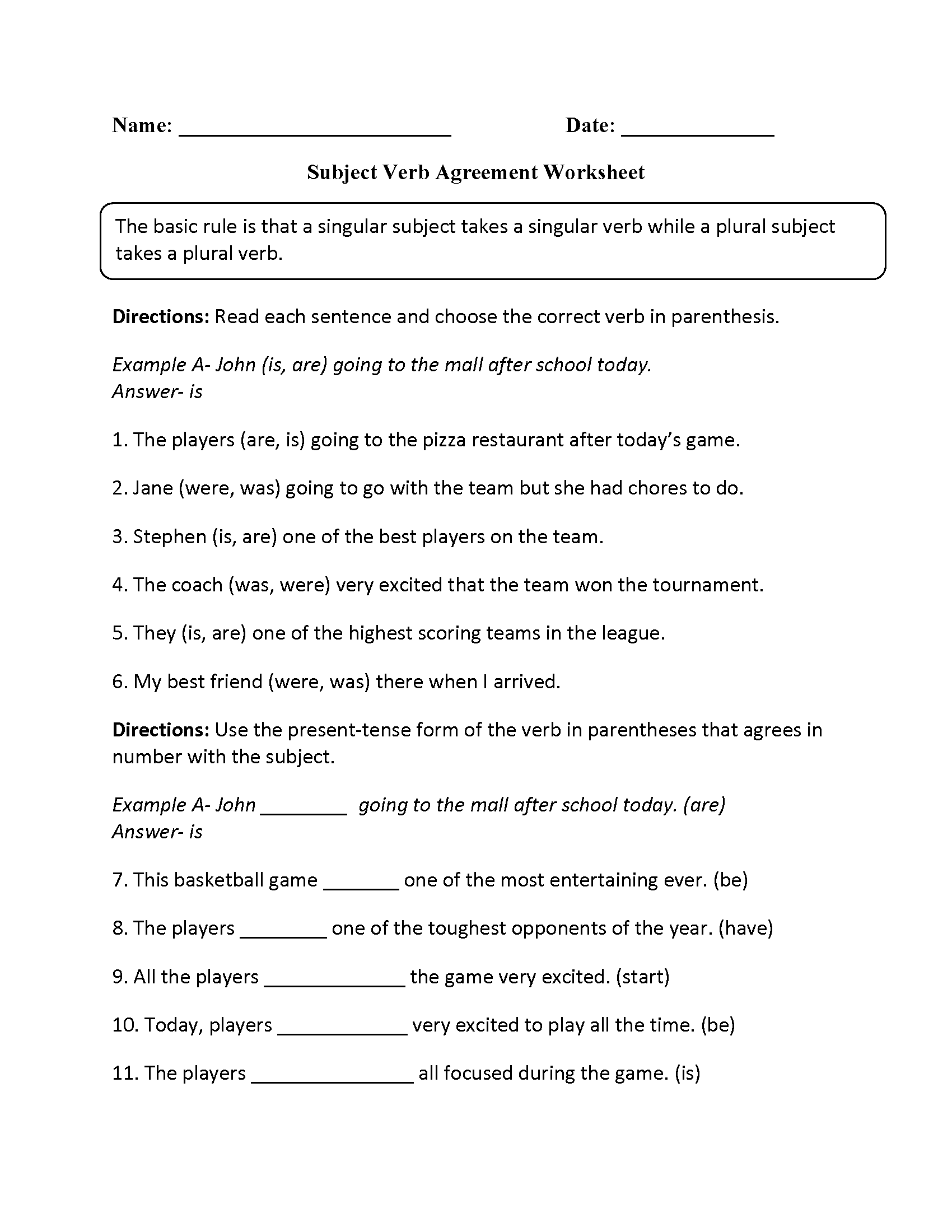 Grade 7 Subject Verb Agreement Worksheets With Answers 7th
