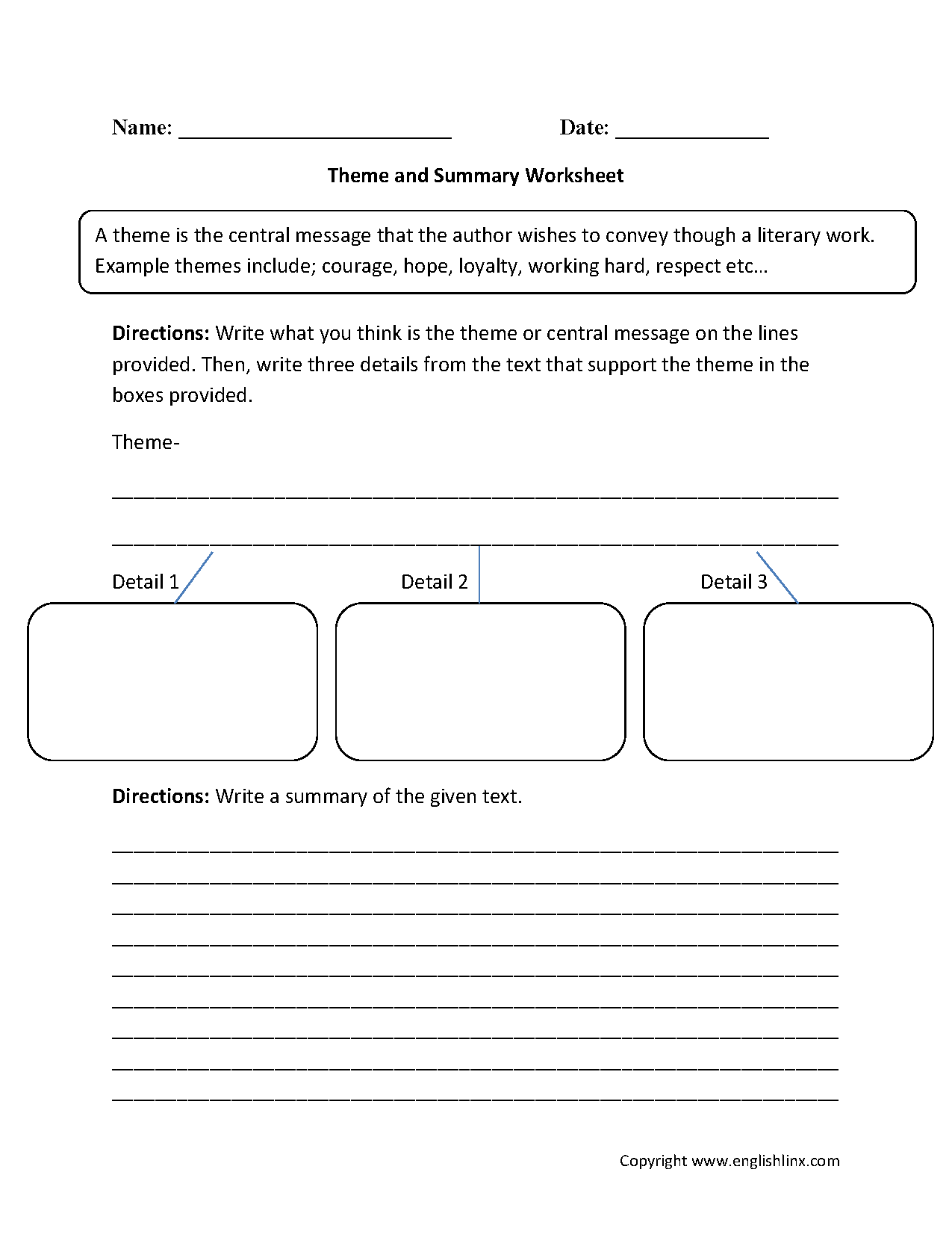 Theme Worksheets 5th Grade