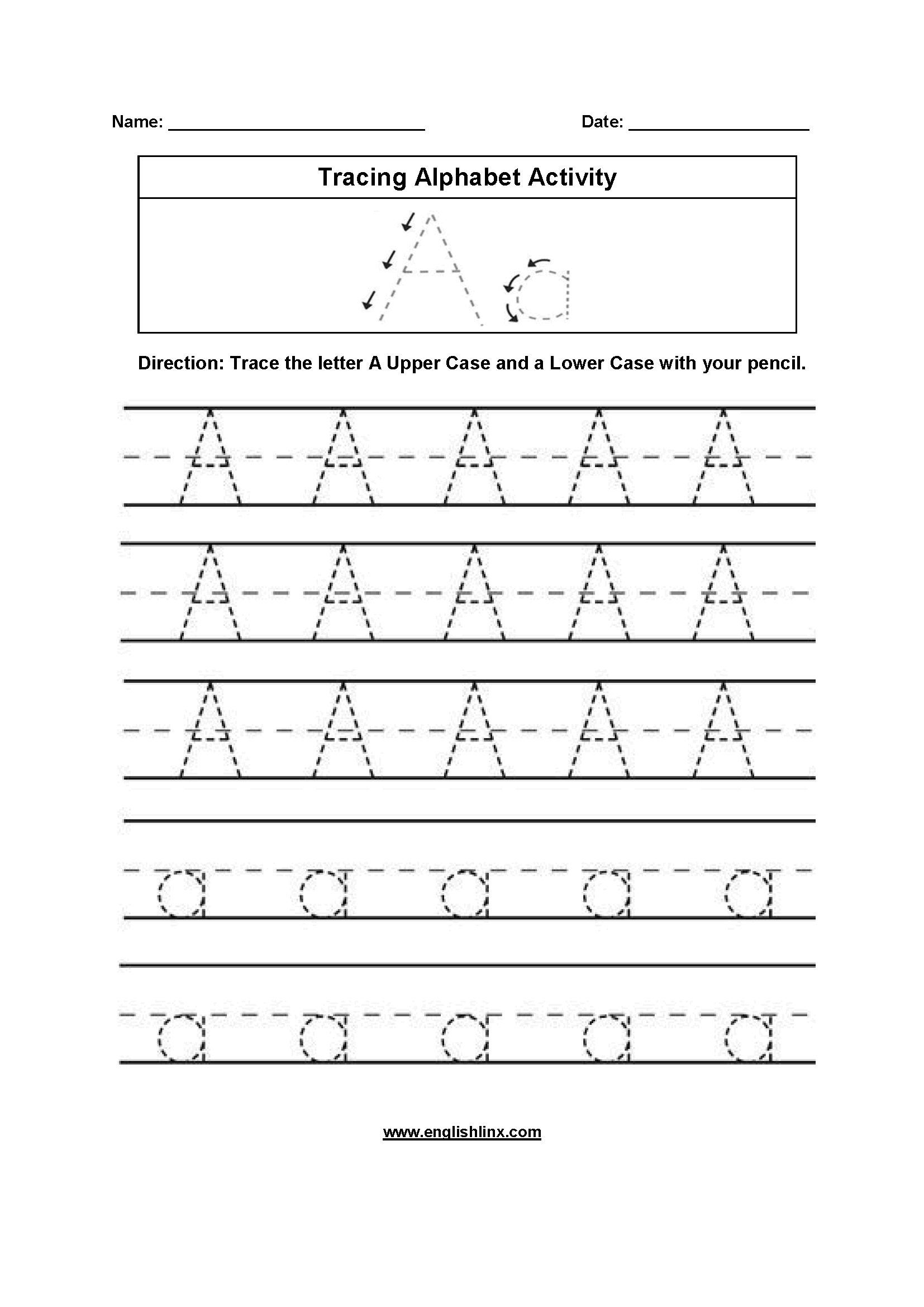 Printables Of Trace The Alphabet Worksheets