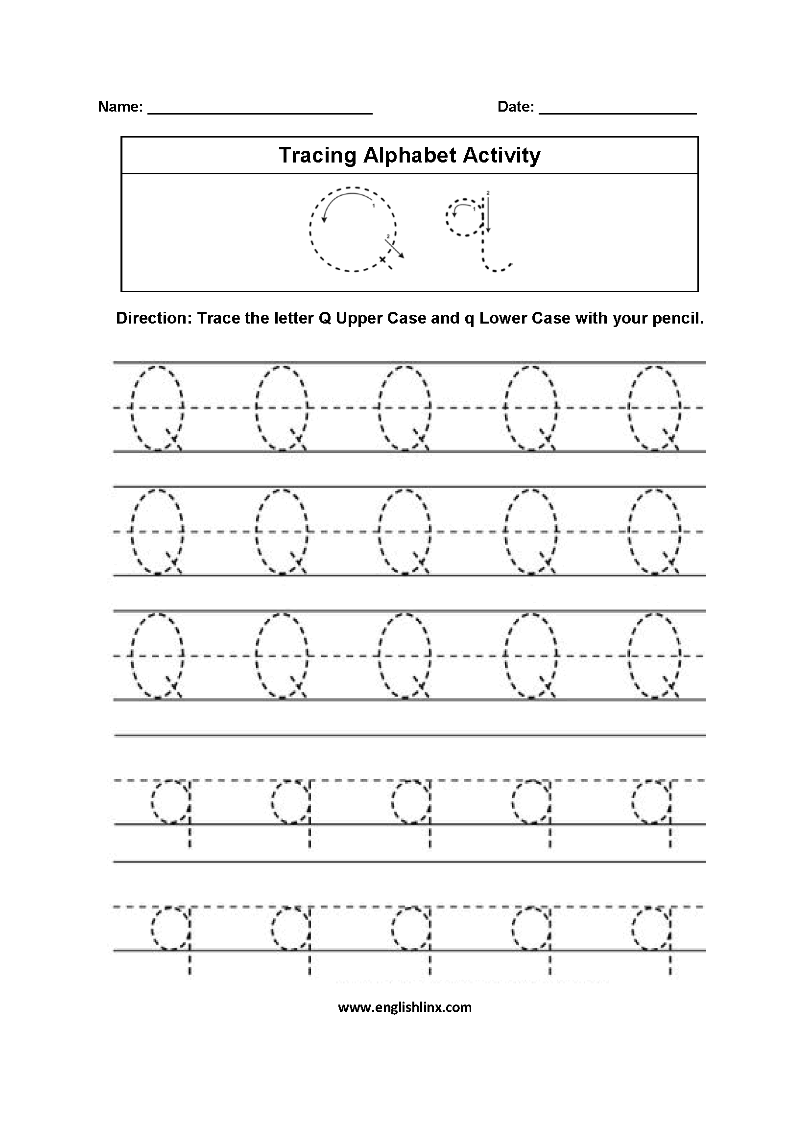 U Tracing Letters A Z Worksheet
