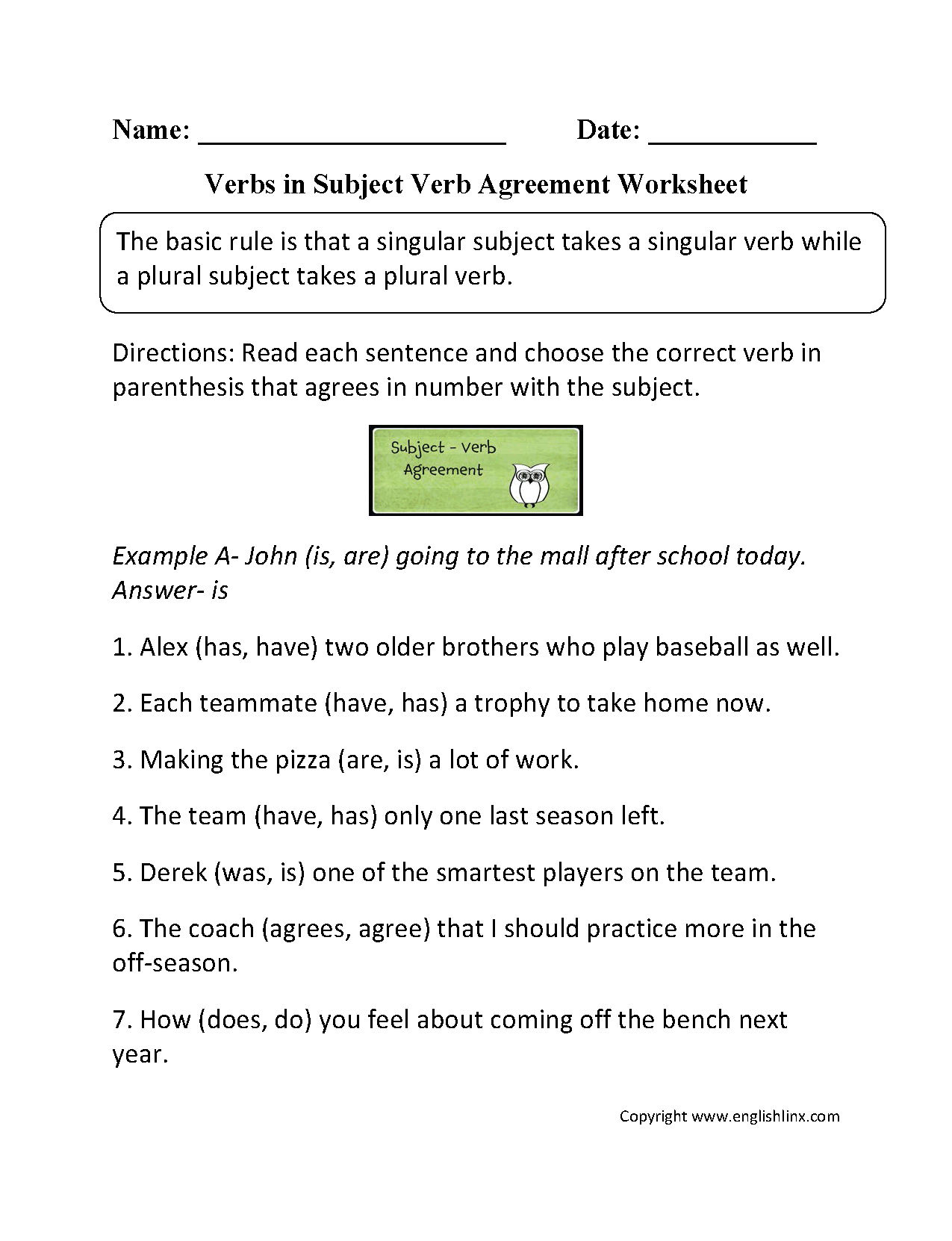 Worksheet Subject Verb Agreement Printable Worksheets
